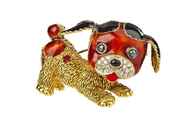 Broszka pies z diamentami, szafirami i czerwoną i czarną emalią