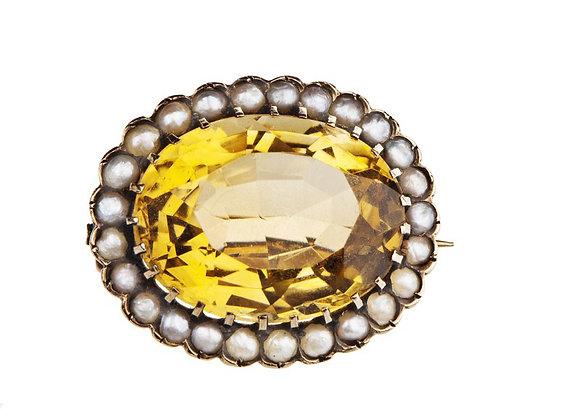 Broszka z cytrynem i naturalnymi perłami