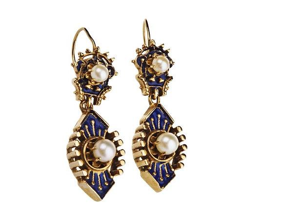 Kolczyki z perłami i kobaltową emalią