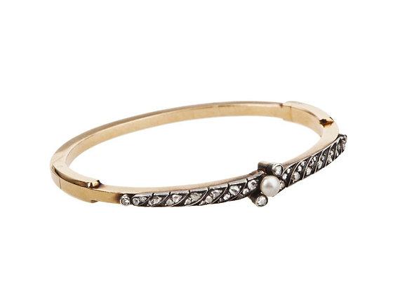 Bransoletka złota z diamentami i perłą