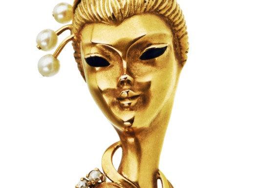Broszka - Portret kobiety-z brylantami , perłami i czarną emalią