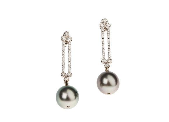 Kolczyki z brylantami i perłami THAITI