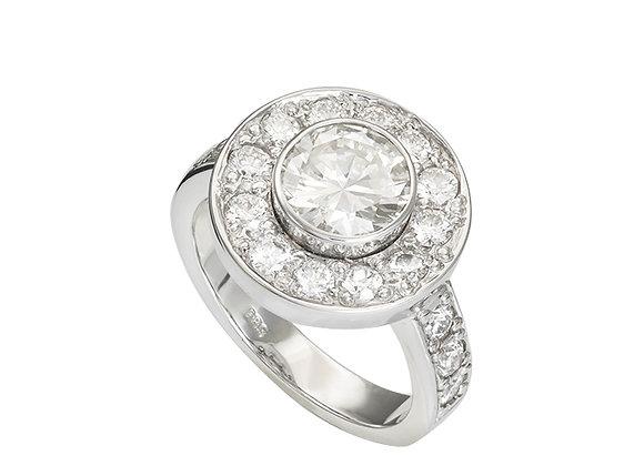 Pierścionek z diamentem i brylantami