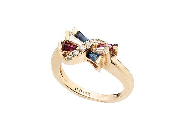 Pierścionek z diamentami, szafirami i rubinami
