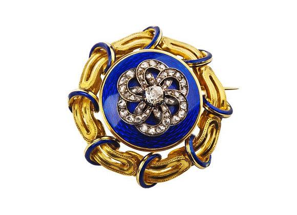 Broszka z diamentami i kobaltową emalią