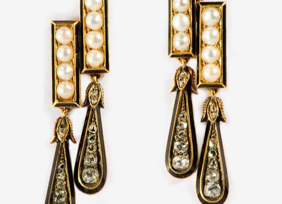 Kolczyki z diamentami, naturalnymi perłami i czarną emalią