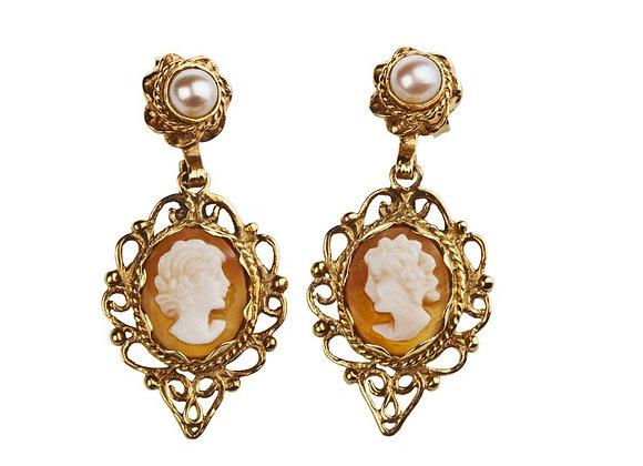 Kolczyki z kameą i naturalnymi perłami