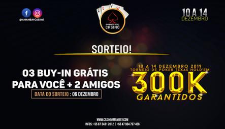SORTEIO DE 3 BUY-IN GRÁTIS