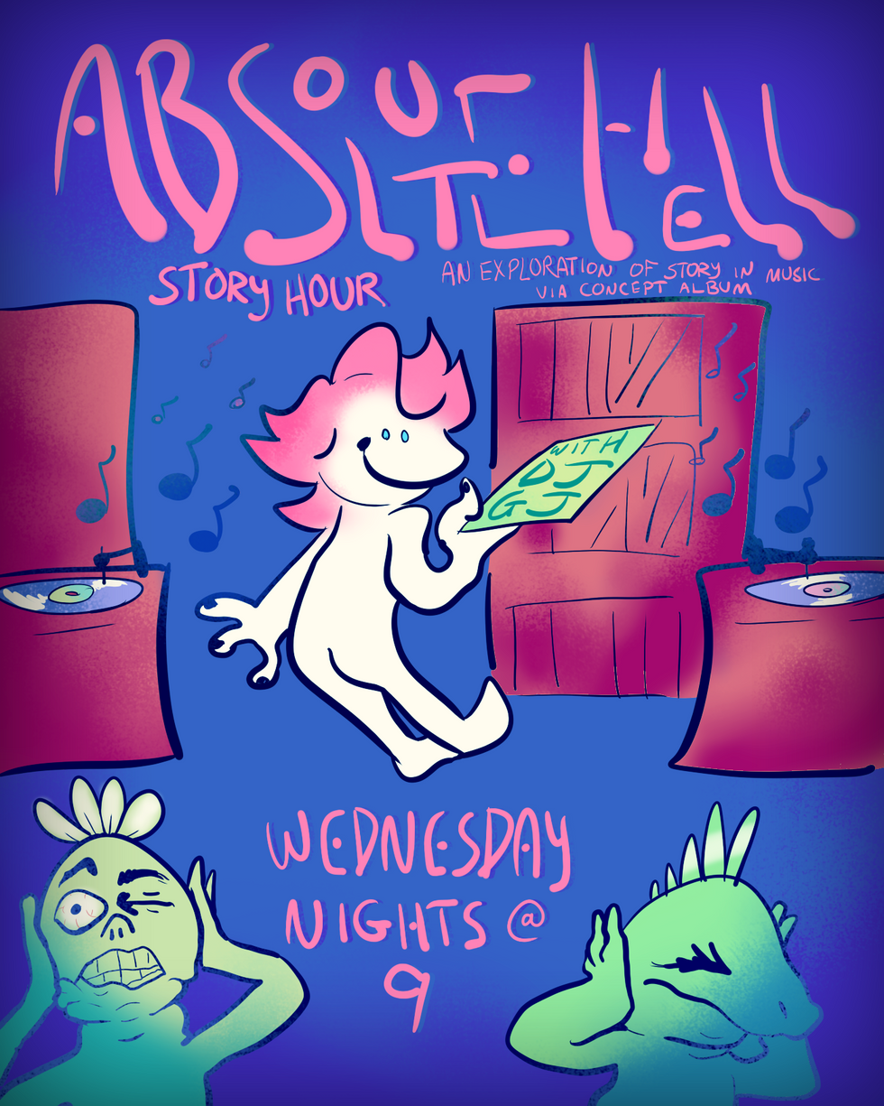 """absolute hell story hour"" poster"