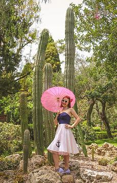 cactus, pin up, girl, umbrella,, sicily, taormina, parco, sun, summer, vacation