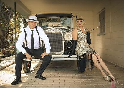 pin up, flapper, gangster, ford t model, couple, coppia, ragazza, ragazzo, dress,