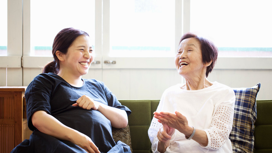 Pregnant Asian Woman with Mother