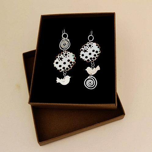 Spirals and Birds Earrings