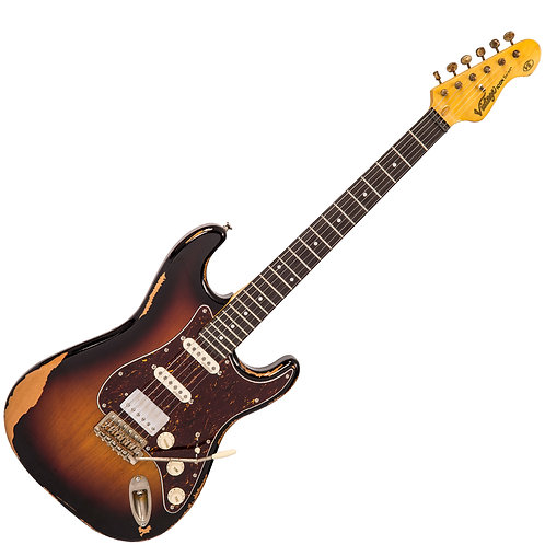 Vintage V6H ICON HSS Electric Guitar ~ Ultra-Gloss Distressed Sunset Sunburst