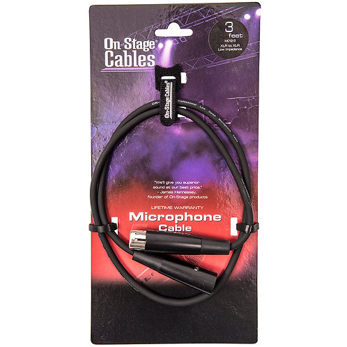 On-Stage Microphone Cable XLR-XLR - 3ft/1m