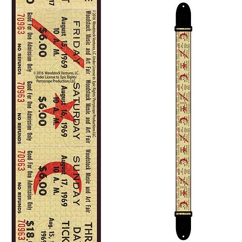 Perri's Licensed Polyester Guitar Strap ~ Woodstock Ticket
