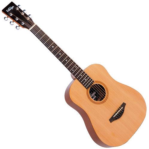 Vintage VTG100 Acoustic Travel Guitar ~ Natural ~ Left Hand