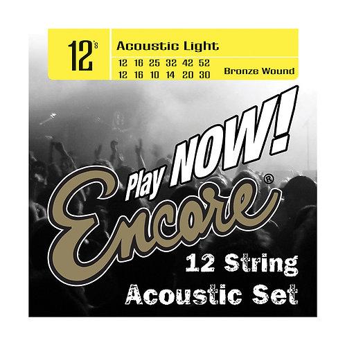 Encore 12-String Bronze Wound Acoustic Guitar String Set - Light