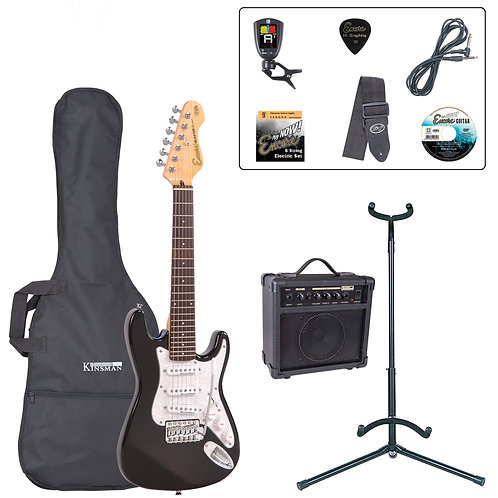 Encore 3/4 Size Electric Guitar Pack ~ Gloss Black