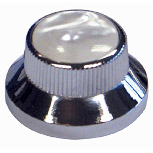 Guitar Tech Control Knobs ~ Chrome/White Pearloid