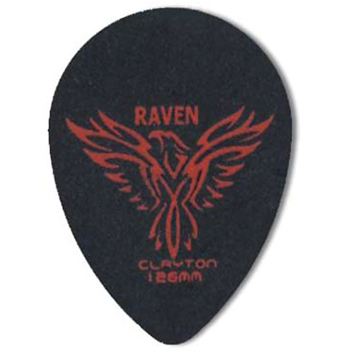Clayton BLACK RAVEN PICK SMALL TEARDROP 1.26MM (72 Pack)