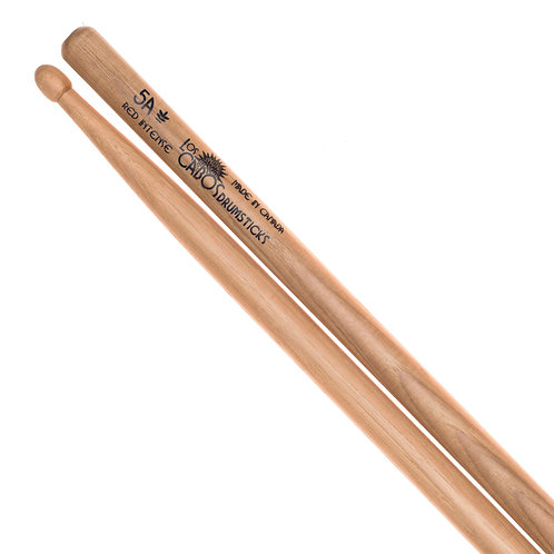 Los Cabos 5A Intense Red Hickory Drumstick ~ Wood Tip