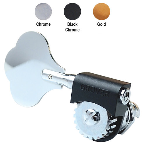 Grover Lightweight Bass Machineheads ~ Black Chrome ~ Left Hand