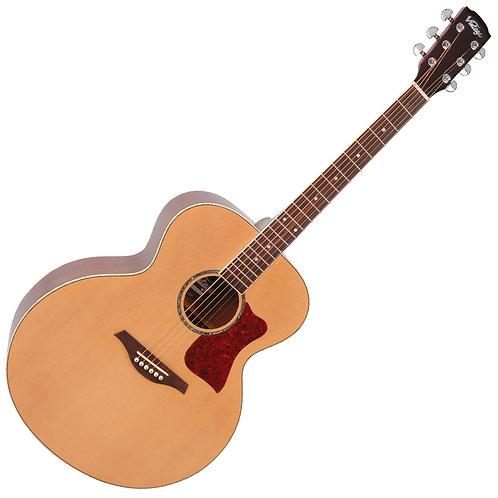 Vintage VJ100 XL Jumbo Acoustic Guitar ~ Natural