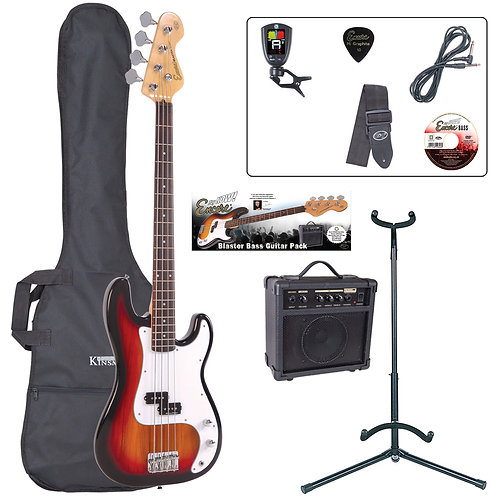 Encore E4 Bass Guitar Pack ~ Sunburst