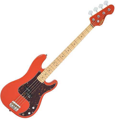Vintage V4 ReIssued Maple Fingerboard Bass Guitar ~ Firenza Red