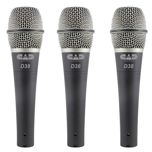 CAD Live D38 Supercardioid Dynamic Instrument Microphone - 3 Pack