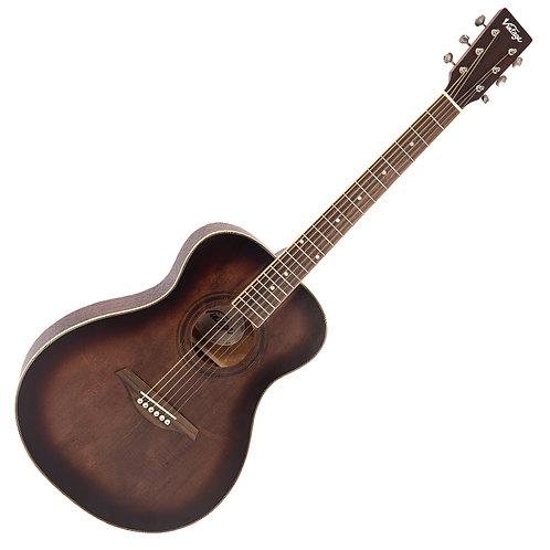 Vintage V300 Acoustic Folk Guitar ~ Antiqued