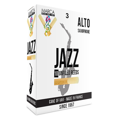 Marca Jazz Unfiled� Reeds - 10 Pack - Alto Sax - 3
