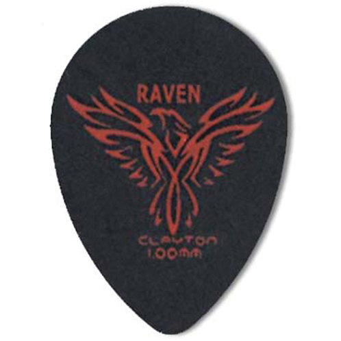 Clayton BLACK RAVEN PICK SMALL TEARDROP 1.00MM (12 Pack)