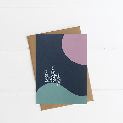 Moonlit Christmas Card | Pink | Pack 6