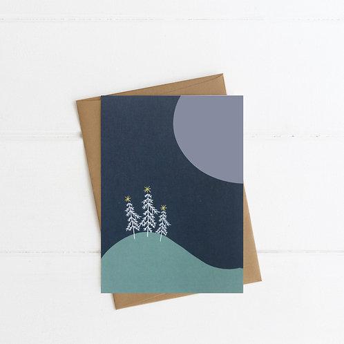 Moonlit Christmas Card | Blue | Pack of 6