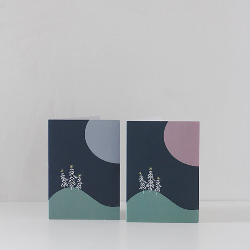 Assorted | Moonlit Christmas Cards | Pink + Blue | Pack of 6