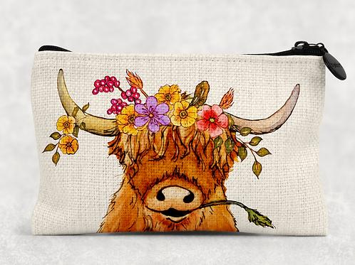 Highland Cow Makeup Bag