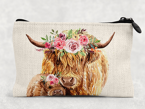 Highland Cows Makeup Bag