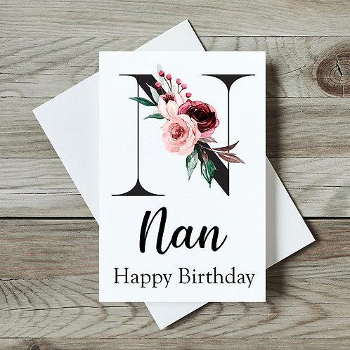 Floral Nan Birthday Card