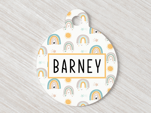 Rainbow Dot Dog ID Tag