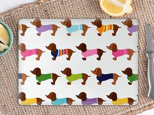 Dachshund fashion show chopping board