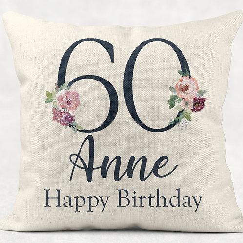 Floral 60th Birthday Cushion