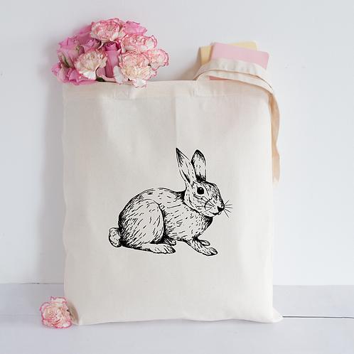 Sketched Rabbit Tote Bag