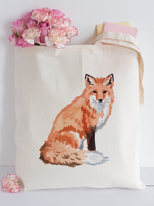 Watercolour fox Tote Bag
