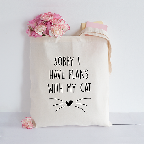 Plans with my cat Tote Bag