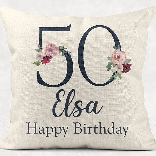 Floral 50th Birthday Cushion