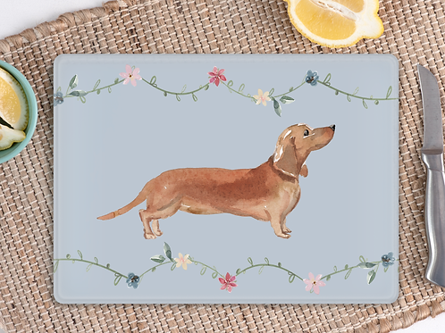 Dachshund floral chopping board