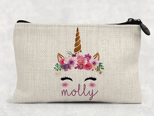Unicorn Name Makeup Bag