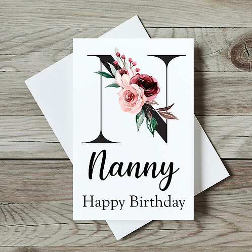 Floral Nanny Birthday Card